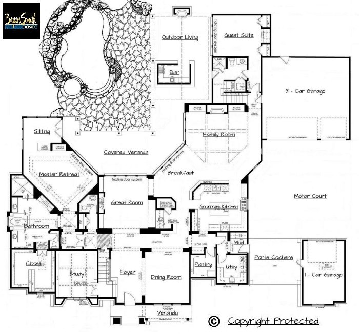 Texas hill country plan 7500 for Texas home builders floor plans