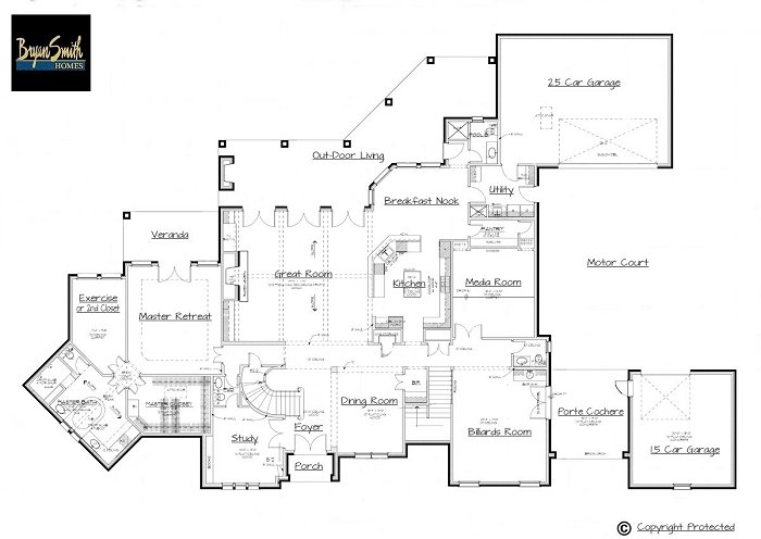 Country french plan 5975 for Texas custom home plans
