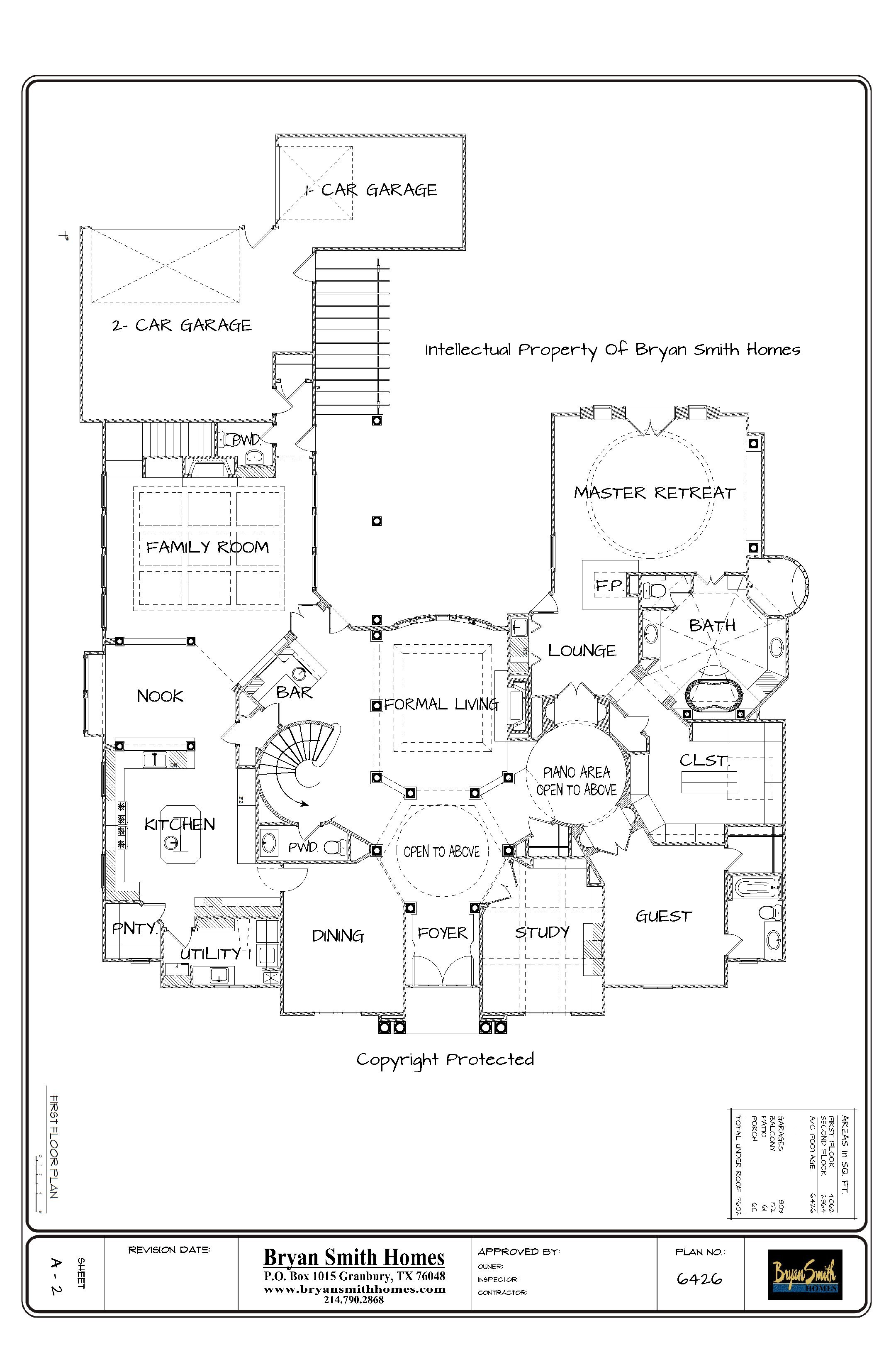 French renaissance plan 6426 for Floor plans presentation
